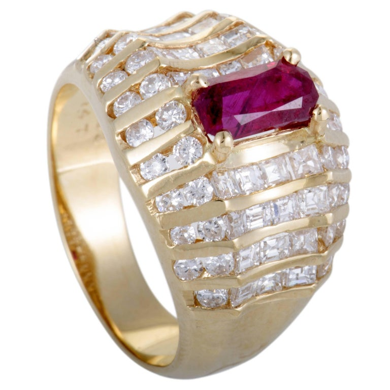 Ruby And Diamond Gold Wide Band Ring At 1stdibs
