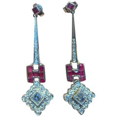 "Ruby and Diamond ""H"" Earrings"