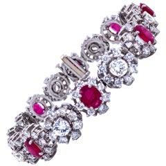 Ruby and Diamond Halo Cluster Motif Bracelet 18 Carat Platinum