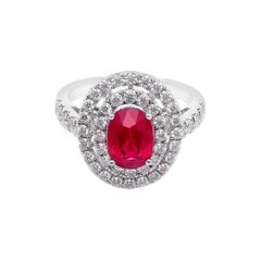 Ruby and Diamond Halo Cocktail Engagement Ring in White Gold with GIA Certified