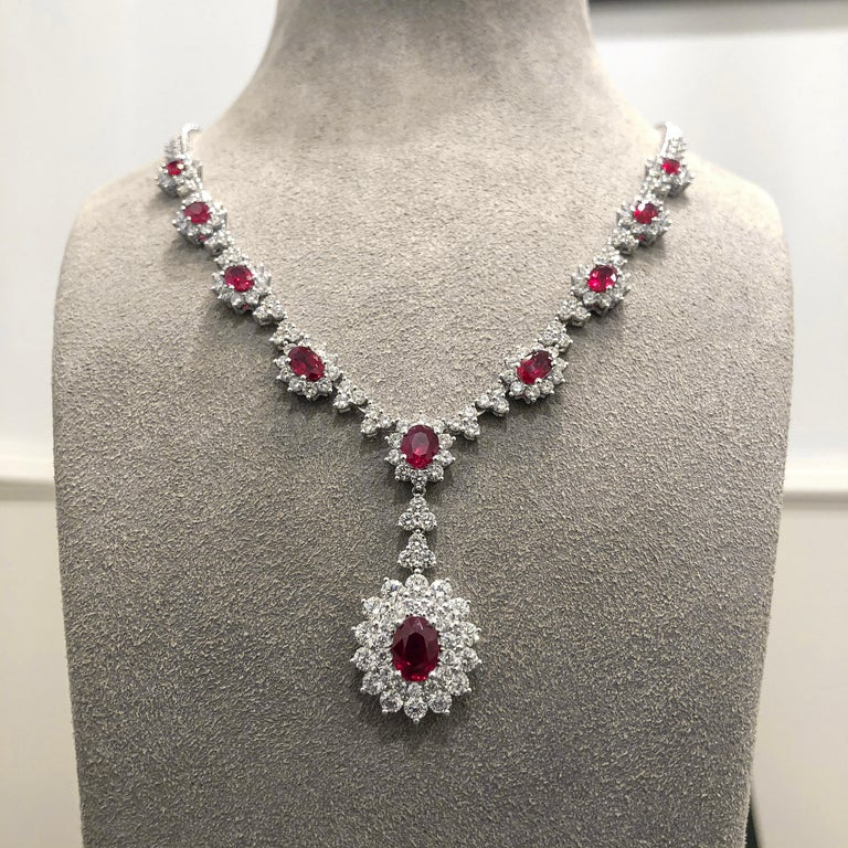 Ruby and Diamond Halo Drop Pendant Necklace In New Condition For Sale In New York, NY