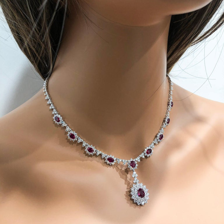 Women's Ruby and Diamond Halo Drop Pendant Necklace For Sale