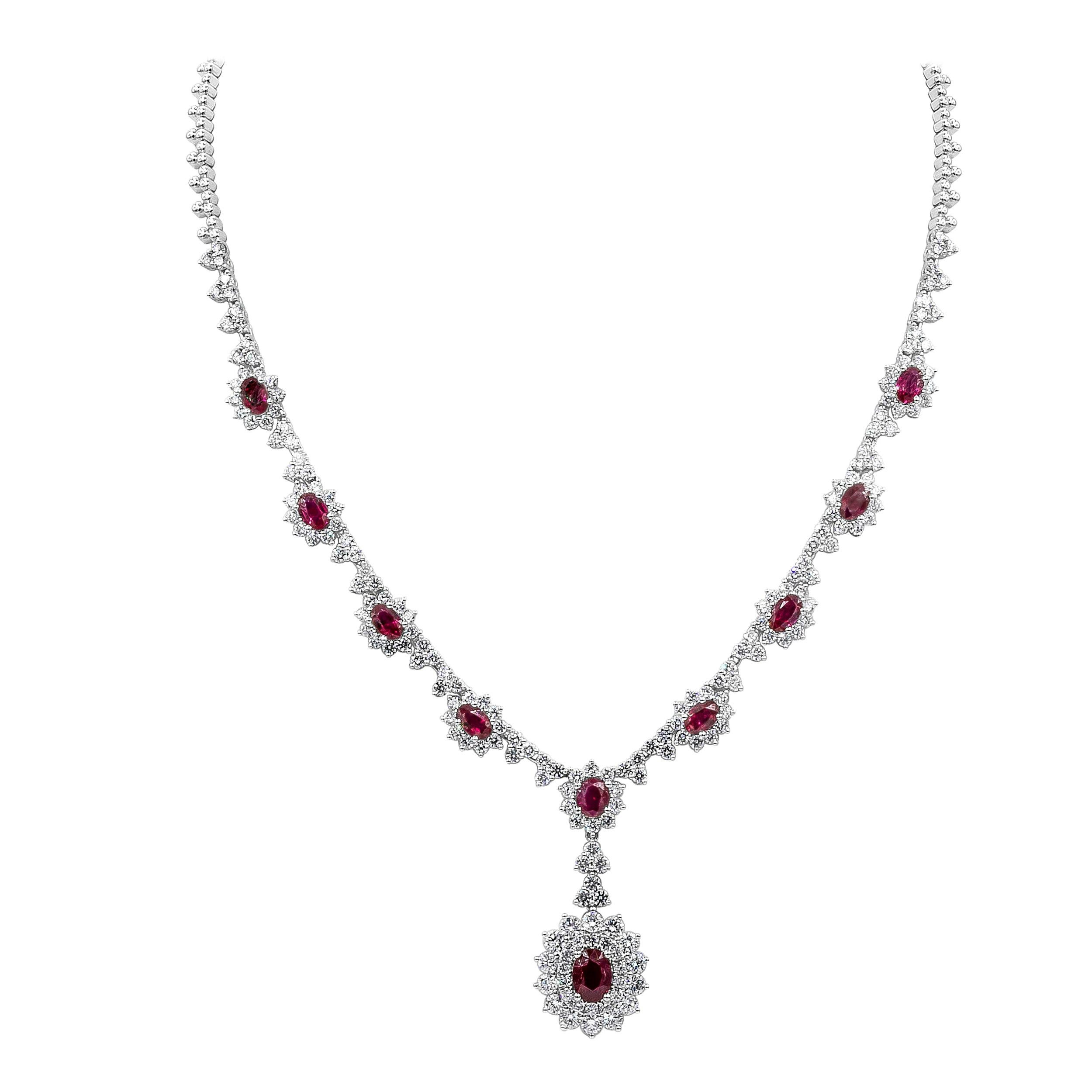 Roman Malakov Ruby and Diamond Halo Drop Pendant Necklace