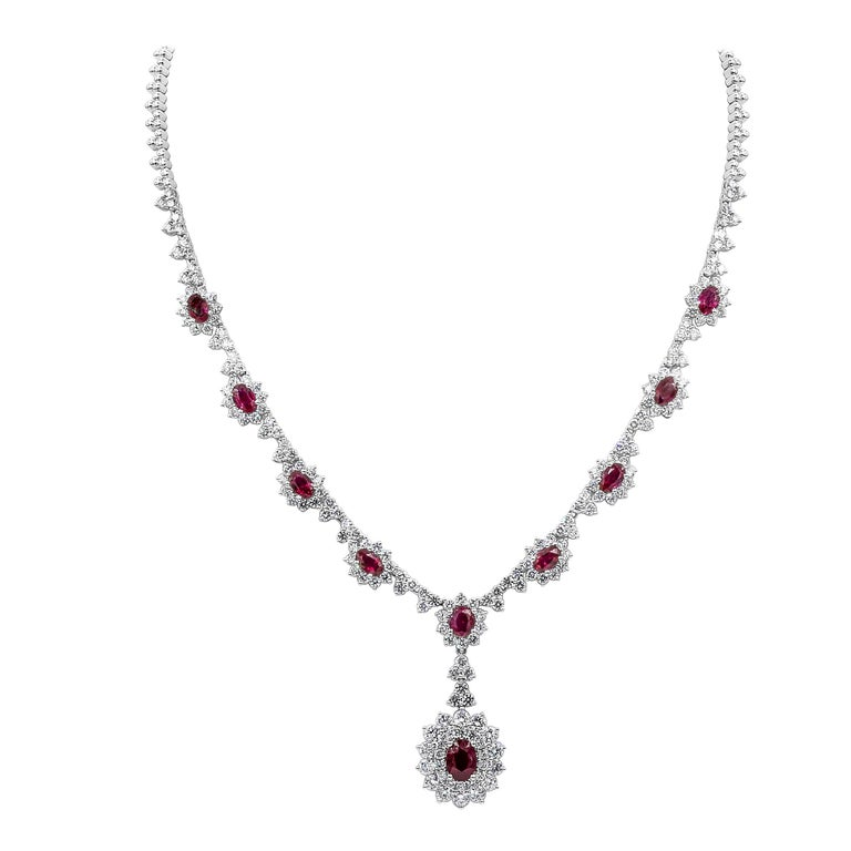 Ruby and Diamond Halo Drop Pendant Necklace For Sale