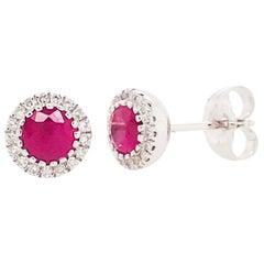 Ruby and Diamond Halo Earring Studs, 14 Karat Gold July Birthstone Earrings