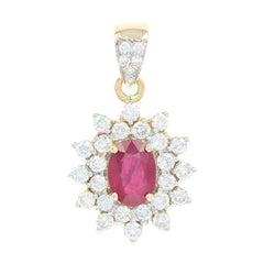 Ruby and Diamond Halo Pendant, 18 Karat Yellow Gold 2.58 Carat