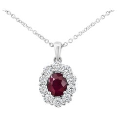 Ruby and Diamond Halo Pendant Necklace
