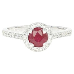 Ruby and Diamond Halo Ring, 14 Karat Gold Cathedral Milgrain Round Cut .74 Carat