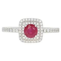 Ruby and Diamond Halo Ring, 14 Karat White Gold Round Cut .80 Carat