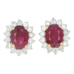 Ruby and Diamond Halo Stud Earrings, 18k Yellow Gold Pierced Oval 4.08 Carat