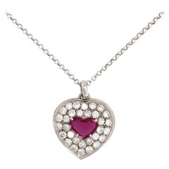 Ruby and Diamond Heart Pendant Necklace 18 Karat White Gold