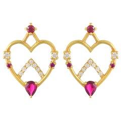 Ruby and Diamond Heart Shaped Stud Earrings in 18 Karat Gold