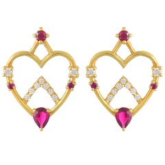 Ruby and Diamond Heart Shaped Stud Earrings in 18 Karat Gold