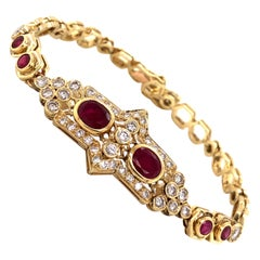 Ruby and Diamond Honeycomb Link 14 Karat Yellow Gold Bracelet