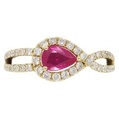 Ruby and Diamond Horizontal Halo Ring