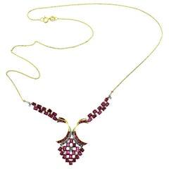 Ruby and Diamond in Yellow Gold Drop Necklace
