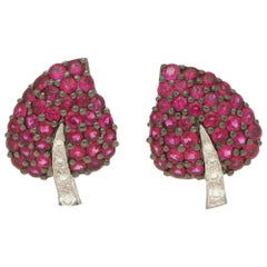 Ruby and Diamond Leaf Earrings Set in 18 Karat White Gold with Rhodium