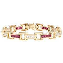 Ruby and Diamond Link Bracelet, 14 Karat Yellow Gold Women's 3.60 Carat