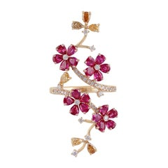 Ruby and Diamond Long Finger Ring, Set in Rose and Yellow Gold