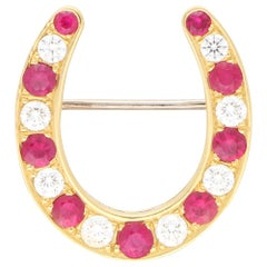 Ruby and Diamond Lucky Horseshoe Brooch Set in 18 Karat Yellow Gold