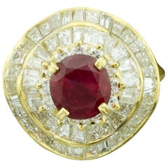 Ruby and Diamond Modern Pretty Ballerina Ring in 18 Karat