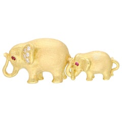 Ruby and Diamond Mother and Baby Elephant Brooch Set in 18 Karat Yellow Gold