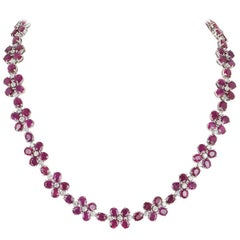 Ruby and Diamond Necklace 76.86 Carat Rubies