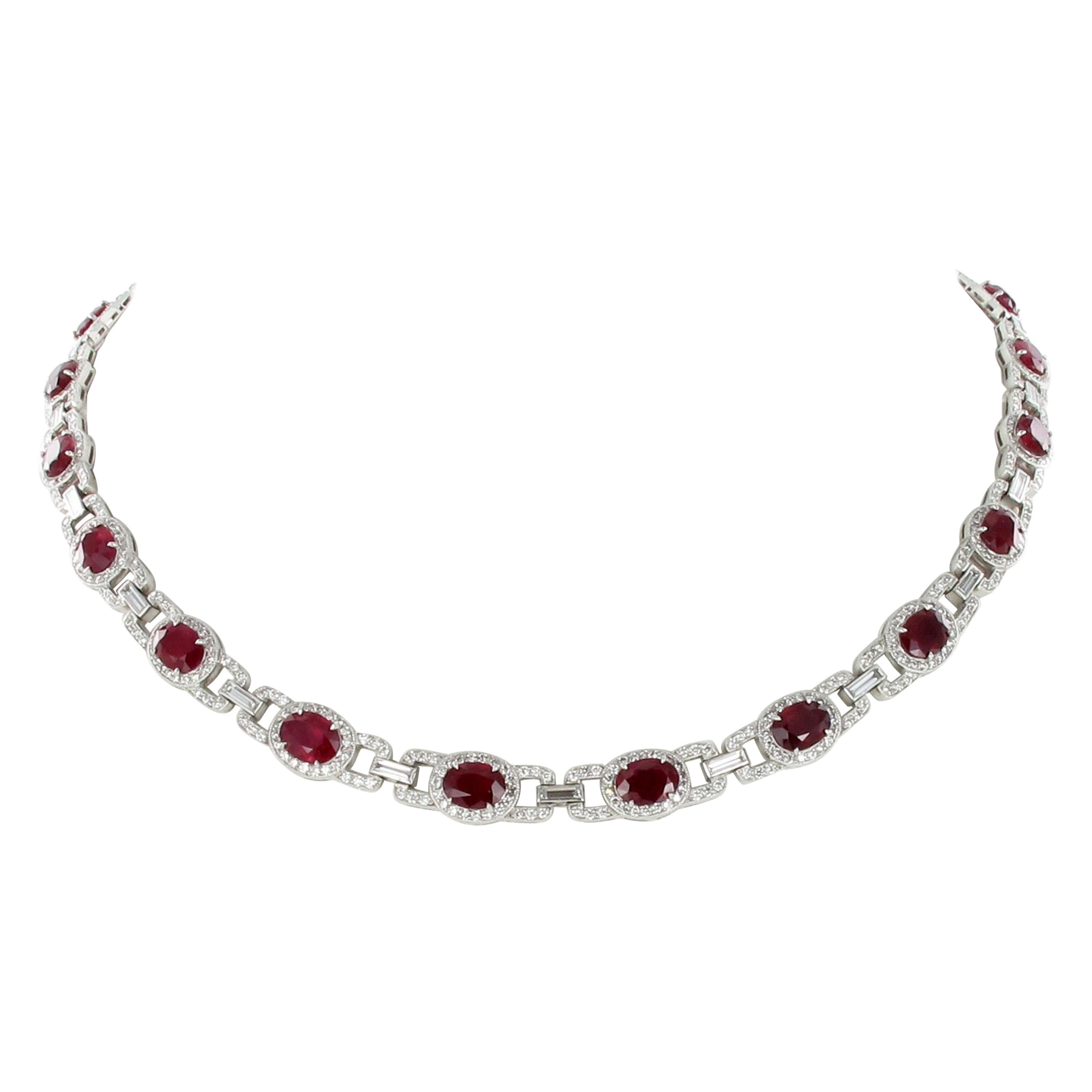 Ruby and Diamond Necklace in Platinum 950