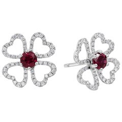 Ruby and Diamond Open-Work Flower Earrings