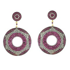 Ruby and Diamond Pave Round Earring