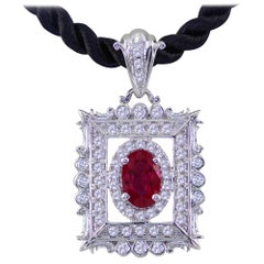 Ruby and Diamond White Gold Pendant