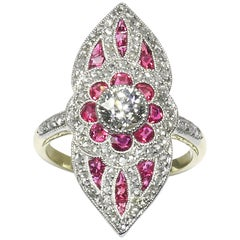 Ruby and Diamond Plaque Ring