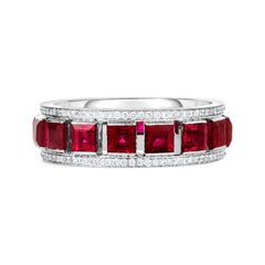 Cicada Ruby and Diamond Platinum Band Ring