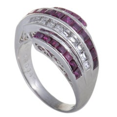 Ruby and Diamond Platinum Band Ring