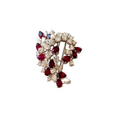 Ruby and Diamond Platinum Brooch