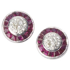 Ruby and Diamond Platinum Cluster Earrings