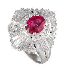 Ruby and Diamond Platinum Ring