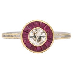 Ruby and Diamond Platinum Target Ring