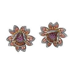 Ruby and Diamond Plique Á Jour Enamel Flower Earrings