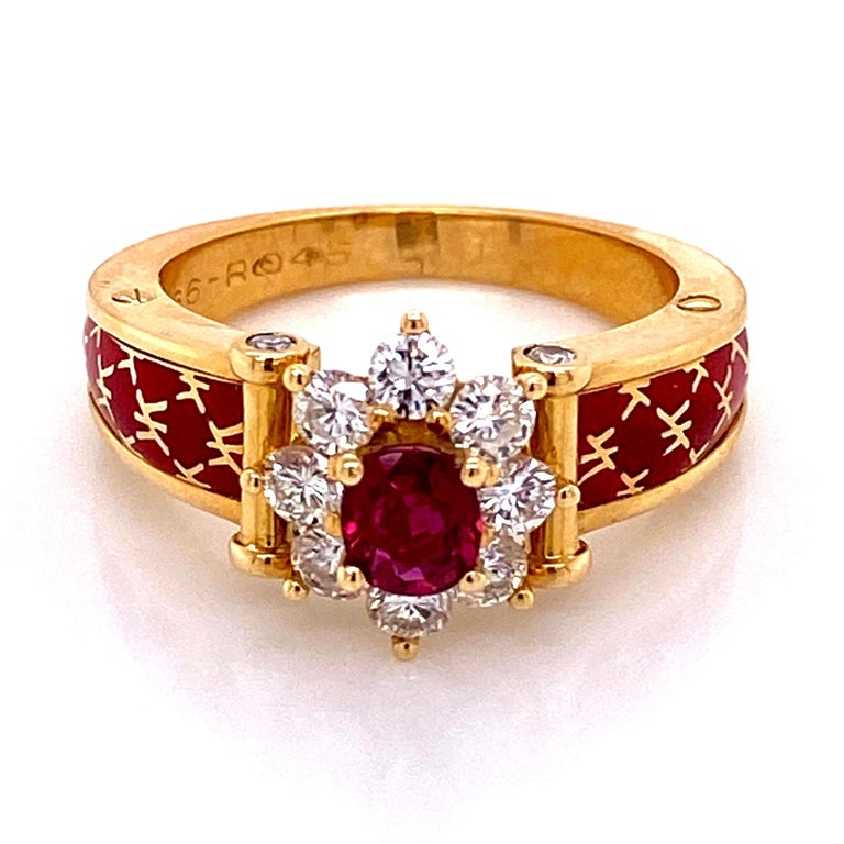 French Cut Ruby and Diamond Red Enamel Gold Ring Fine Estate Jewelry France For Sale