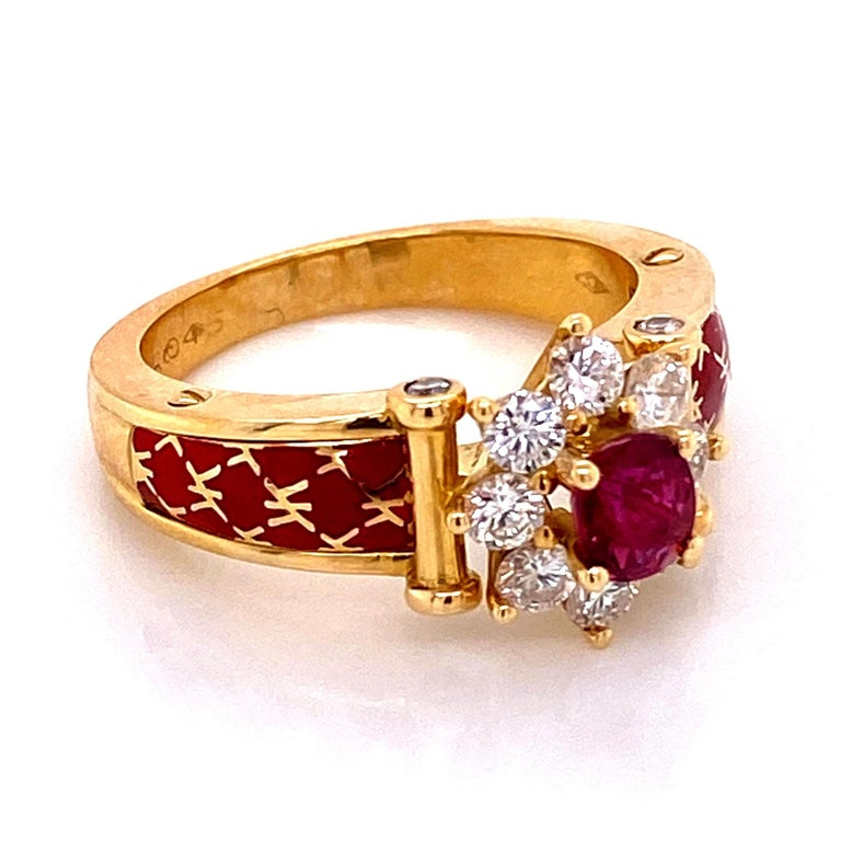 Ruby and Diamond Red Enamel Gold Ring Fine Estate Jewelry France In Excellent Condition For Sale In Montreal, QC