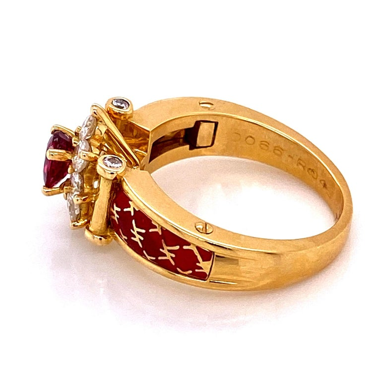 Ruby and Diamond Red Enamel Gold Ring Fine Estate Jewelry France For Sale 2