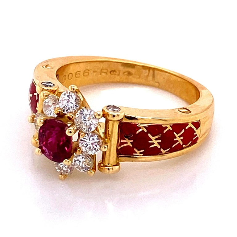 Ruby and Diamond Red Enamel Gold Ring Fine Estate Jewelry France For Sale 3