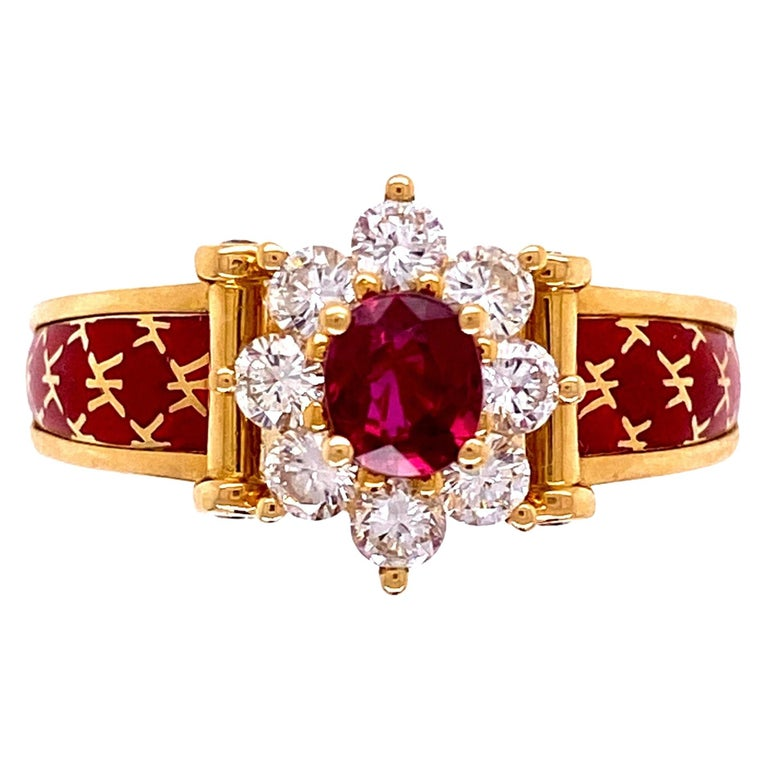 Ruby and Diamond Red Enamel Gold Ring Fine Estate Jewelry France For Sale