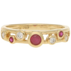 Ruby and Diamond Retro Bubble Ring Set in 18 Karat Yellow Gold