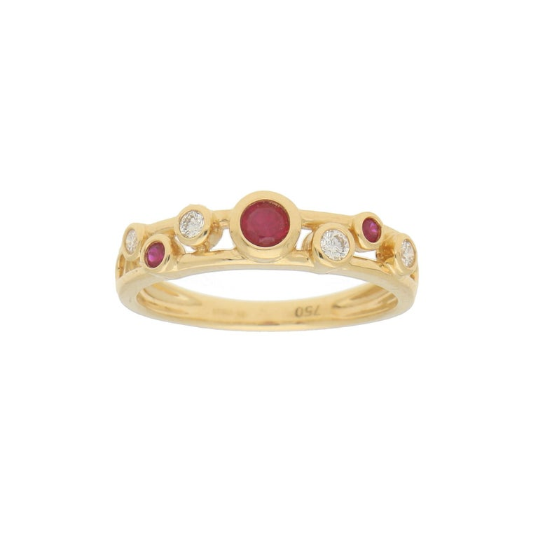 Round Cut Ruby and Diamond Retro Bubble Ring Set in 18 Karat Yellow Gold For Sale