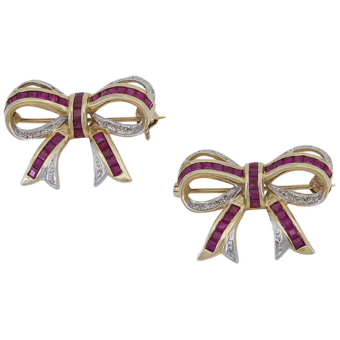 Ruby and Diamond Ribbon Brooch