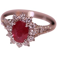 Ruby and Diamond Ring 18 Karat White Gold Engagement or Fashion Right Hand Ring