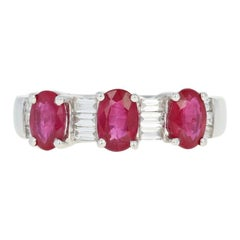 Ruby and Diamond Ring, 18 Karat White Gold Three-Stone Oval 3.78 Carat
