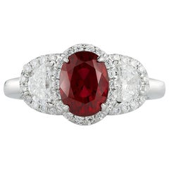 Takat 2.11 Cts Unheated Ruby And Diamond Ring In Platinum